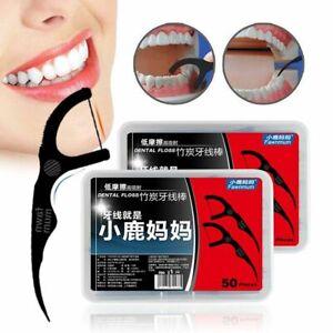 50pcs Bamboo Charcoal Dental Floss Stick Tooth Pick Interdental Flosser Eco Frie
