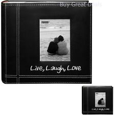 Pioneer Photo Album 4x6 Embroidered Sewn Leatherette Cover Black 200 Photos