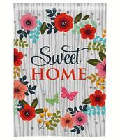 Morigins Sweet Home Flower Butterflies Decorative Double Sided Yard Garden Flag