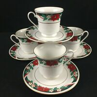 Set of 4 VTG Cups and Saucers by Tienshan DECK THE HALLS Christmas Poinsettia