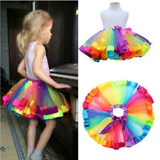 0-10Y Kids Toddler Children Skirt Baby Girl Rainbow Tulle Tutu Dress Pettiskirt