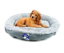 Round Dog Bed Cat Doughnut Calming Pet Pillow Soft Comfortable Puppy Nest Grey