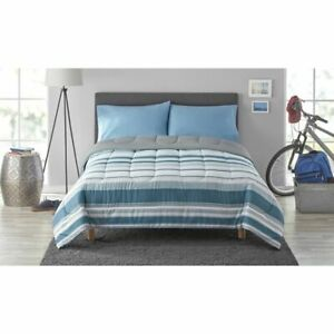 Bedding Set Bed in a Bag Mainstays blue grey  3  pc Twin/Twin XL NEW