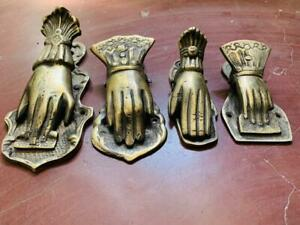4 Pc 1940's Old Brass Hand Crafted Engraved Lady Hand Shape Victorian Paper Clip