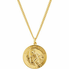 "St. Christopher Medal 24"" Necklace In 24K Gold Plated"