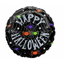 Spider Frenzy Halloween Round Foil Balloon