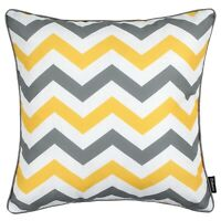 "Geometric Chevron Cushion Grey Yellow Zig Zag Pillow Case Sofa Cover 45cm 18"""