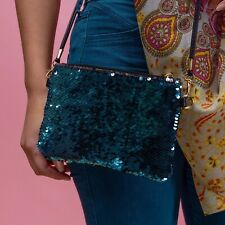 Blue Silver Two Way Sequin Shoulder Bag Clutch Party/Festival/Sparkly