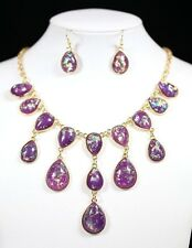D19 Nacre Iridescent Teardrop Purple Gold  Lightweight Necklace Boutique