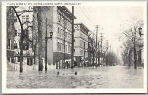 """1937 LOUISVILLE FLOOD Kentucky Postcard """"Fourth Avenue Looking North"""" Unused"""