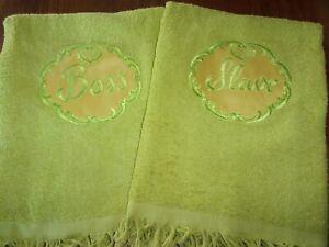 "Vtg CANNON ""Slave & Boss"" His/Hers Novelty Bath Towel Set NOS Wedding Showe"