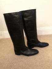 Russell Bromley Black Leather Flat Knee High Boots UK8 EU41 US10.5