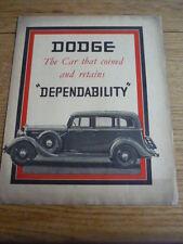 DODGE SENIOR & VITTORIA sei AUTO BROCHURE 1935 JM