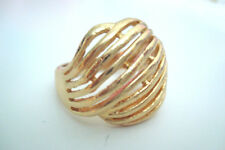 Gold Tone Diagonal Lines Patterned Style Statement Ring Size U