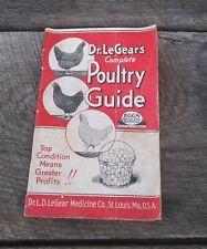 Antique 1939 Dr LeGear's Complete Poultry Guide Medicine Co. Advertising Booklet