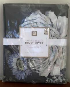 Pottery Barn Teen Spring Bouquet FULL / QUEEN Duvet Cover ~ Black Multi
