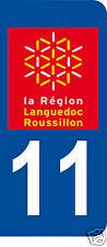 1 Sticker plaque immatriculation AUTO adhésif département 11