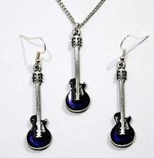 Les Paul Guitar Necklace and Earrings Set, English Pewter Gift Boxed, Gibson (H)