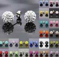 20 pair/lot 10mm mixed disco ball pave crystal drop shamballa earrring studs