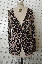 NEW Black Animal PRINT TWELVE by Twelve CARDIGAN SWEATER Beige Tan MEDIUM Women
