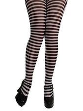 Adult Ladies Black And White Halloween Candystripe Tights Womens Fancy Dress