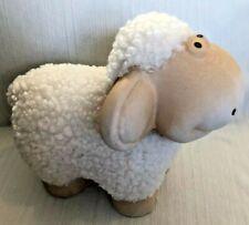 Fluffy White Sheep Figurine Ceramic & Fur Adorable Home Decor Great Gift! GLOBAL