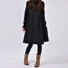 Women WInter Loose Trench Coat Cape Wool Blend Jacket Dress Outwear Sweater Coat
