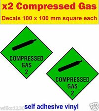 2x compressed Gas Scuba Diver Decals Cylinder Diving Bottle Tank sticker warning