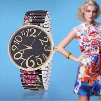 women watches for Geneva stretch band flower dial floral printed watch Black ZH