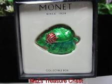 """Rare 2011 MONET """"LADY BUG ON LEAF""""  Collectible Enamel Trinket Box  ** NIB **"""