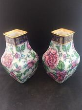 Delightful Pair Antique Gilt edged Gilded 1912 LOSOL Ware Transfer Printed Vases