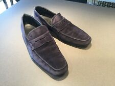 Tods Mens Navy Suede Leather Top Stitched Penny Loafers Size 9.