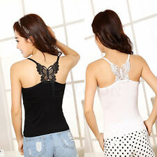 New Sexy Women Lace Strap Sleeveless Vest Blouse Tank Crop Top Butterfly