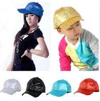Adjustable For Kid Women Men Shining Baseball Hat Sequin Glitter Dance Party Cap