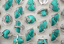 Newest Wholesale Lots 25pcs Nature Turquoise Stone Rhinestone Lady's Rings AH313