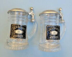 Jack Daniels Old No 7  Tennessee Whiskey Stein w/ Lid Shot Glass set Germany