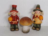 3er Set  Dekofiguren Pilz Kürbis Deko Herbst Nostalgie Vintage Keramik 12*5*4 cm
