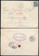 FRENCH GUINEA 1905 RAOUL VIDAL HANDSTAMP + SEAL 25c to GERMANY..AVRICOURT 2o TPO
