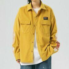 Men Loose Corduroy Shirt Jacket Coat Pocket Cargo Splice Japanese Retro