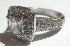 925 Silver Cubic Zirconia Square Set Cluster Ring Size P Jewellery/Bling