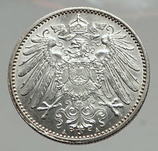 1915 WILHELM II of GERMANY 1 Mark Antique German Empire Silver Coin Eagle i64601