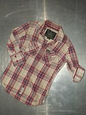 Superdry womens cotton 3/4 sleeve check shirt size S