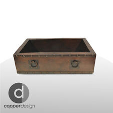 "Copper Apron Farmhouse Kitchen Sink with Towel Rings 33""x22"""