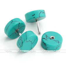 Pair Men's Fake Cheater Illusion Turquoise Plug Steel Ear Stud Barbell Earrings