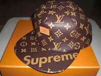 louis vuitton yarmulke. authentic supreme x louis vuitton 5-panel monogram leather hat cap new louis vuitton yarmulke