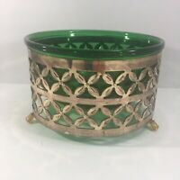 Vintage Forest Green Bowl w/ Brass Stand