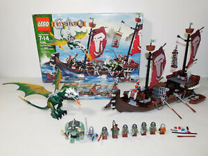 100% LEGO 7048 Castle Set TROLL WARSHIP Ship Dwarfs Boats Dragon Knight Minifig+