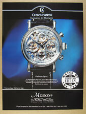 1997 Chronoswiss platinum Opus Skeleton Chronograph watch photo vintage print Ad