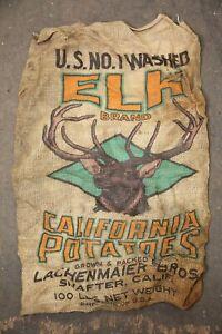 Vintage Elk antlers Burlap Bag Sack Shafter, California Potatoes Hunting Cabin