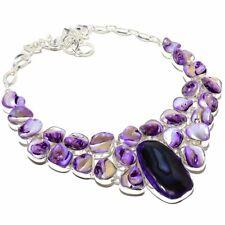 """Botswana Slice Agate Druzy, Biwa Shell Gemstone Handmade Jewelry Necklace 18"""""""